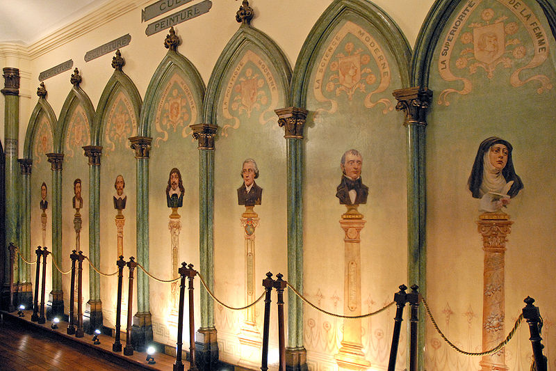 A gallery of some of the secular saints - including men of science and Madame Clotilde de Vaux - in the Comte's Chapel of Humanity in Paris. J.P. Dalbéra WikiCommons/ FlickR.