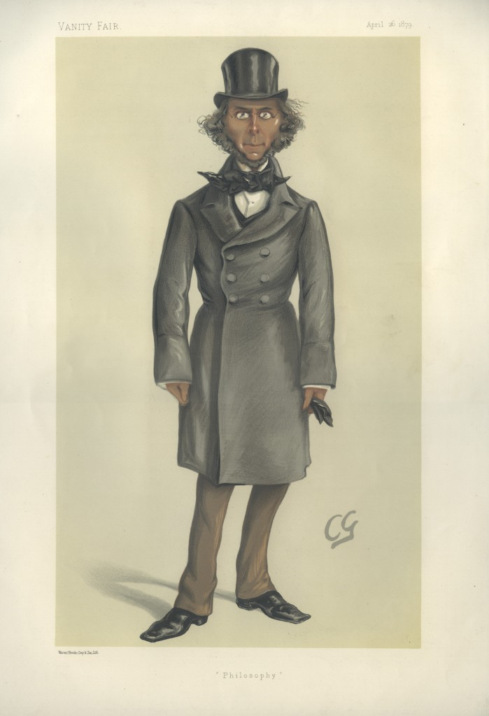 Herbert Spencer depicted as 'Philosophy' in Vanity Fair magazine in 1879.
