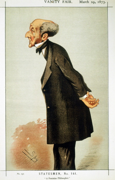UNSPECIFIED - CIRCA 1754: John Stuart Mill (1806-73) British social reformer and philosopher (Utilitarianism). Cartoon by 'Spy' (Leslie Ward) from Vanity Fair, London, 1873 (Photo by Universal History Archive/Getty Images)
