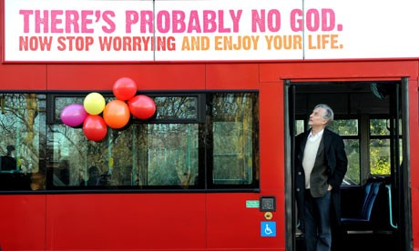 Professor Richard Dawkins on a London bus displaying the Atheist message. Photograph: Anthony Devlin/PA