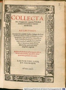 Desiderius Erasmus's Collectanea Adagiorum (1518) Photograph: Bavarian State Library